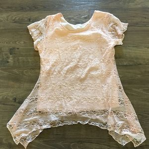 Shannon Ford New York Blush Pale Pink Lace Top L